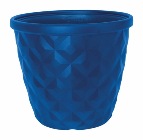 Suncast Pinehurst 14.2 in. H x 16.2 in. W x 16.2 in. D Resin Planter Blue - Case Of: 1; Perspective: front