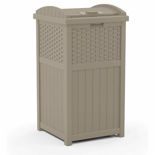 Suncast Wicker Resin Outdoor Hideaway Trash Can with Latching Lid, Dark Taupe Perspective: front