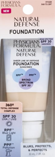Physicians Formula Natural Defense Sheer Line of Defense Fair to Light Foundation Sunscreen SPF30 Perspective: front
