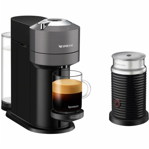 Nespresso Vertuo Next Premium Coffee and Espresso Maker in Gray plus Aeroccino Milk Frother in Black Perspective: front