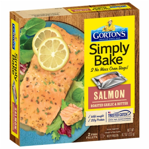 Gorton's Simply Bake Roasted Garlic & Butter Salmon Fillets Perspective: front