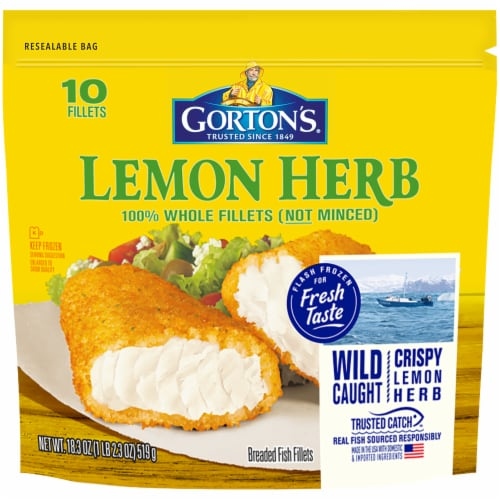 Gorton's Lemon Herb Whole Breaded Fish Fillets 10 Count Perspective: front