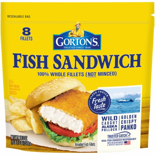 Gorton's Fish Sandwich Breaded Fish Fillets Perspective: front