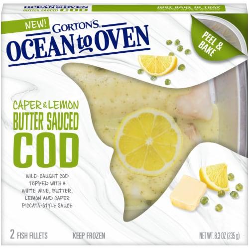 Gorton's Ocean To Oven Caper & Lemon Butter Sauced Cod Fish Fillets Perspective: front
