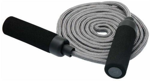 Bollinger® Adjustable Jump Rope with Foam Handles - Gray/Black Perspective: front