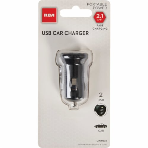 RCA 12V MINIME2Z Dual USB Car Charger - Black Perspective: front
