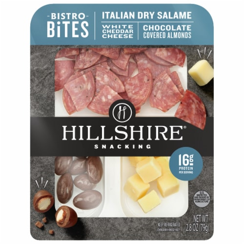 Hillshire Farm Snacking Bistro Bites Italian Salame White Cheddar Cheese Chocolate Covered Almonds Perspective: front