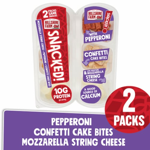 Hillshire Farm® SNACKED! Pepperoni and Mozzarella Cheese with Cake Bites Perspective: front