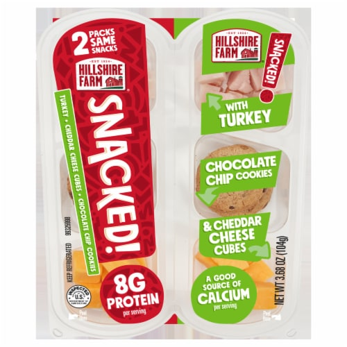 Hillshire Farm® SNACKED! Turkey Cheddar Cheese and Chocolate Chip Cookies Perspective: front
