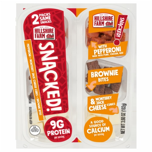 Hillshire Farm® SNACKED! Pepperoni Monterey Jack Cheese and Brownie Bites Perspective: front