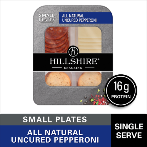 Hillshire Farm Snacking Small Plates All Natural Uncured Pepperoni with Natural White Cheddar Cheese Perspective: front