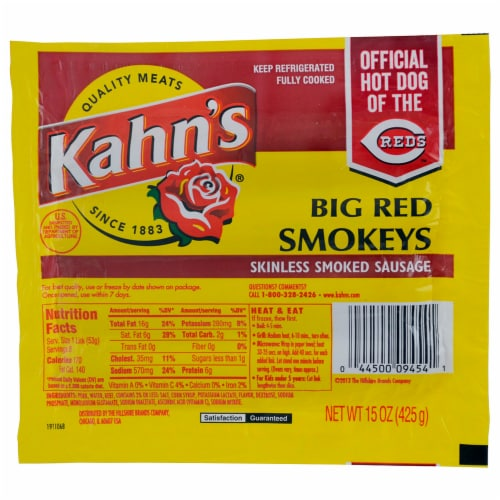 Kahn's Big Red Smokeys Skinless Smoked Sausage Perspective: front