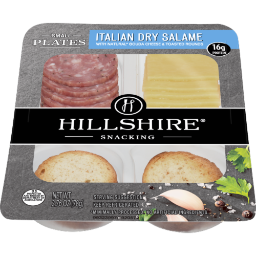 Hillshire Snacking Small Plates Italian Dry Salame and Gouda Cheese Perspective: front