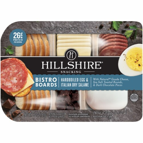 Hillshire Farm Hardboiled Egg & Italian Dry Salame Snacking Bistro Board Perspective: front