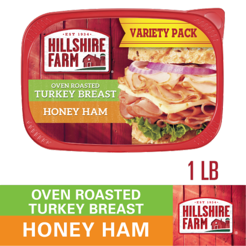 Hillshire Farm Ultra Thin Sliced Lunchmeat Oven Roasted Turkey Breast & Honey Ham Perspective: front