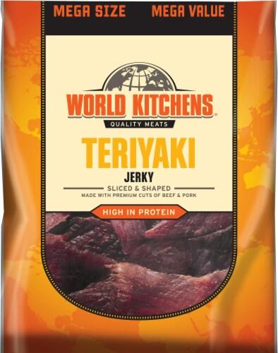 World Kitchen Teriyaki Beef & Pork Jerky Perspective: front