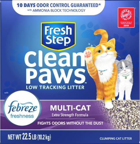 Fresh Step Clean Paws Multi-Cat Scented Litter with the Power of Febreze Clumping Cat Litter Perspective: front