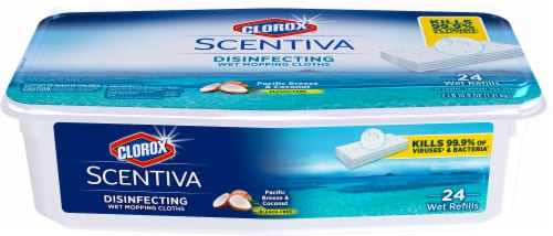 Clorox Scentiva Pacific Breeze & Coconut Disinfecting Wet Mopping Cloths Perspective: front