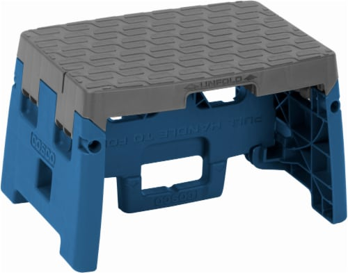 Cosco® 1-Step Folding Step Stool - Blue/Gray Perspective: front