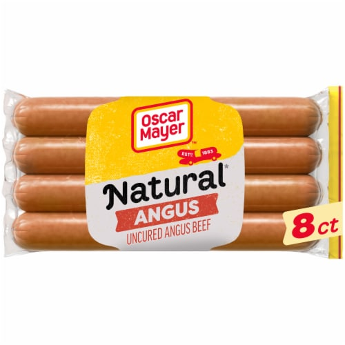 Oscar Mayer Selects Natural Gluten Free Bun-Length Angus Uncured Beef Franks Perspective: front