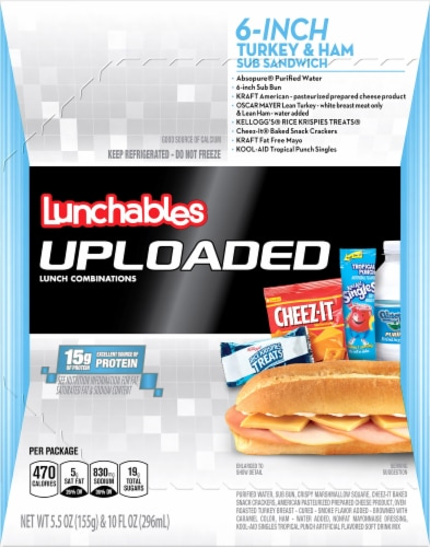 Lunchables Uploaded 6-Inch Turkey & Ham Sub Sandwich Perspective: front
