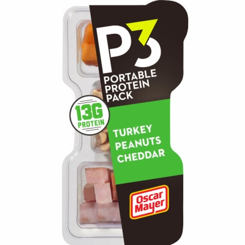 P3 Turkey Cheddar & Peanuts Portable Protein Pack Perspective: front