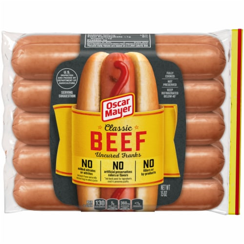 Oscar Mayer Classic Beef Uncured Franks Perspective: front