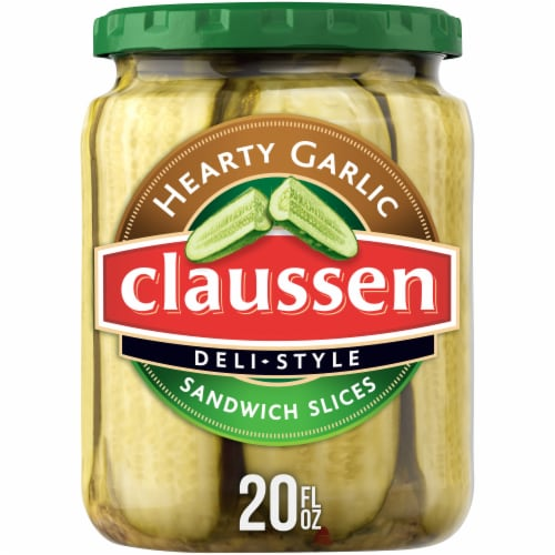 Claussen Deli-Style Hearty Garlic Sandwich Pickle Slices Perspective: front