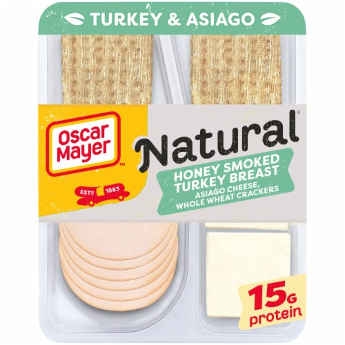 Oscar Mayer Natural Honey Smoked Turkey Breast Asiago Cheese & Whole Wheat Crackers Perspective: front