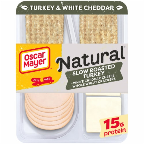 Oscar Mayer Natural Slow Roasted Turkey Breast White Cheddar Cheese & Whole Wheat Crackers Perspective: front