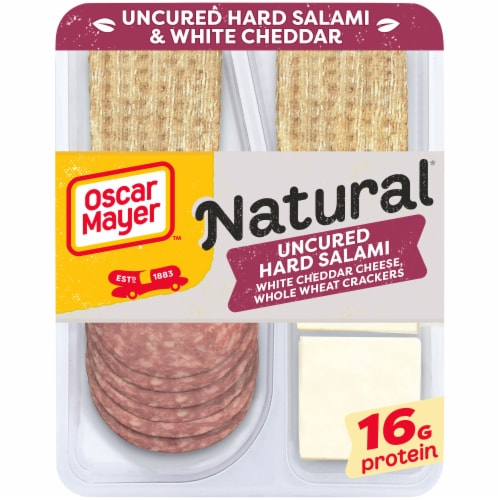 Oscar Mayer Natural Uncured Hard Salami White Cheddar Cheese & Crackers Snack Pack Perspective: front