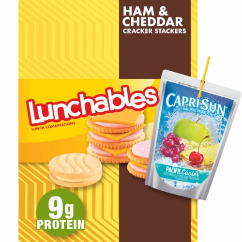 Lunchables Ham and Cheddar Cracker Stackers Meal Perspective: front