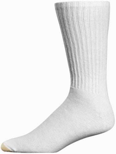 GOLDTOE® Men's Cotton Crew Athletic Socks - 6 Pack - White Perspective: front
