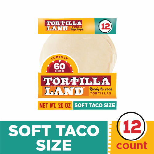 Tortilla Land Fresh Uncooked Soft Taco Size Flour Tortillas Perspective: front