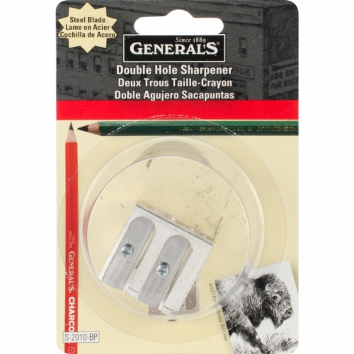 General Pencil Double Hole Metal Pencil Sharpener Perspective: front