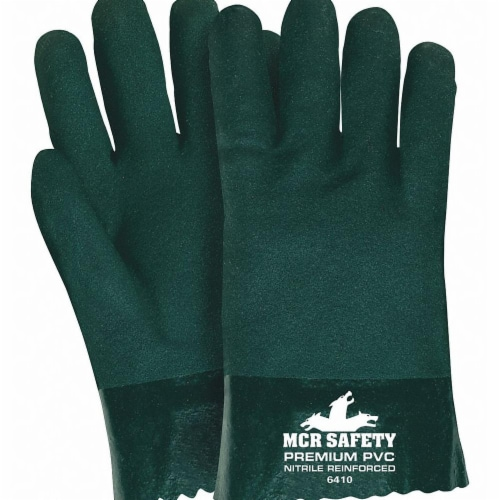 Mcr Safety Gloves,PVC,L,10 in. L,Jersey,PR,PK12  6410 Perspective: front
