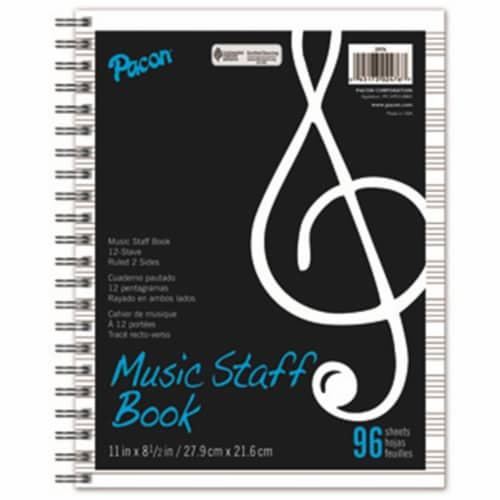 Music Staff Paper, Spiral Bound Book, 8-1/2  x 11 , 96 Sheets Perspective: front
