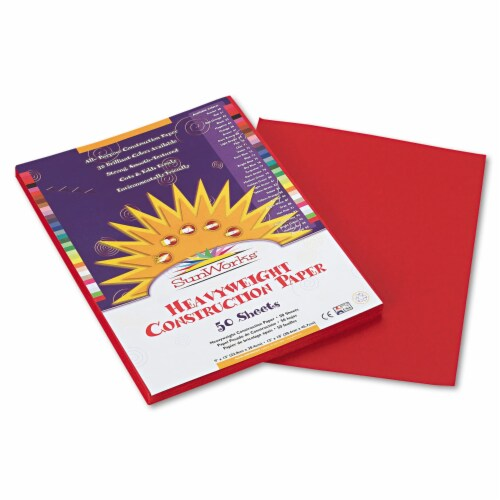 Sunworks Construction Paper, 58lb, 9 X 12, Red, 50/Pack 6103 Perspective: front