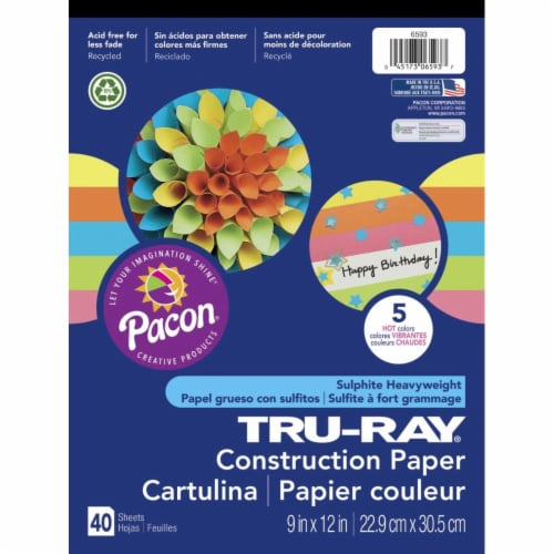 Construction Paper Pad, 5 Assorted Hot Colors, 9  x 12 , 40 Sheets Perspective: front