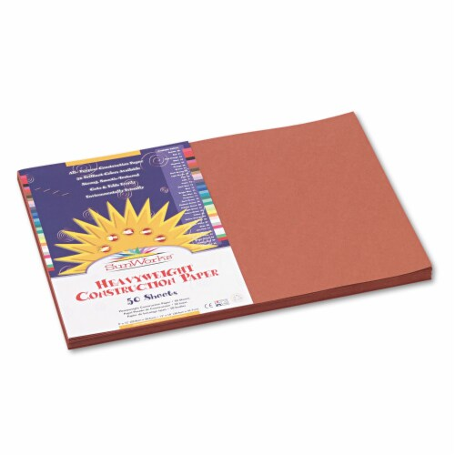 Sunworks Construction Paper, 58lb, 12 X 18, Brown, 50/Pack 6707 Perspective: front