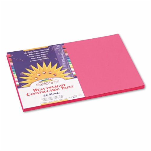 Sunworks Construction Paper, 58lb, 12 X 18, Hot Pink, 50/Pack 9107 Perspective: front
