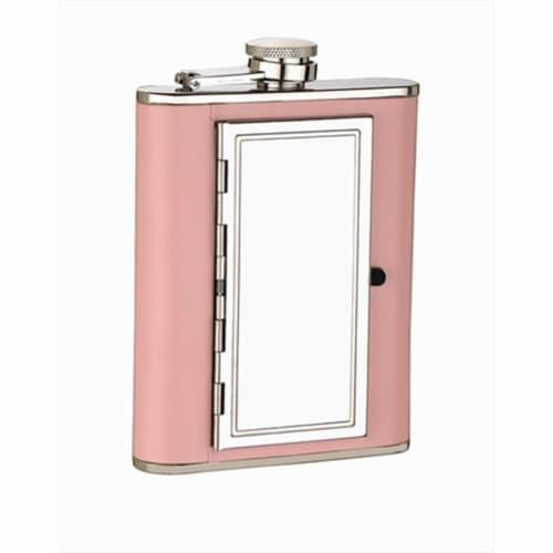 FJX Wholesale HFL-SP019 6oz Pink Cigarette Case Flask Perspective: front