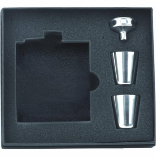 FJX Wholesale 6oz Flask Set in Gift Box Perspective: front