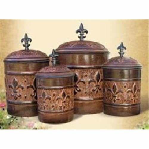 Old Dutch International 730 Set Of Four Versailles Canisters Perspective: front
