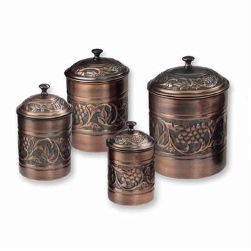Old Dutch International 811 Antique Embossed Canisters 4Qt 2Qt 1.5Qt 1Qt - Set of 4 Perspective: front