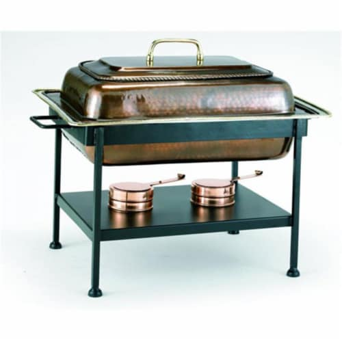 Old Dutch International 842 Rectangular 8 Qt Antique Copper Chafing Dish Perspective: front