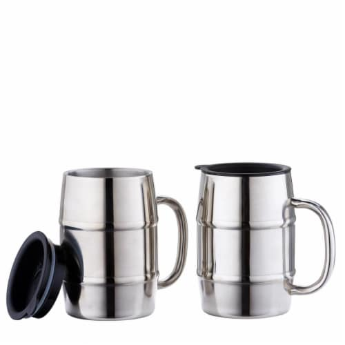 Old Dutch International 16 oz Keep Kool Stainless Steel Mugs with Lids - Set of 2 Perspective: front