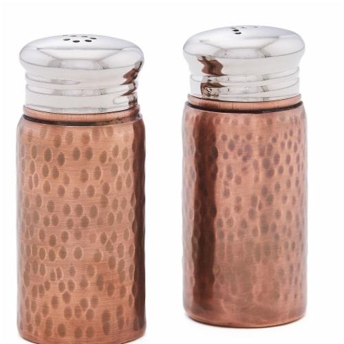 Old Dutch International 3.25 in. Hammered Salt & Pepper Shaker Set, Antique Copper Perspective: front