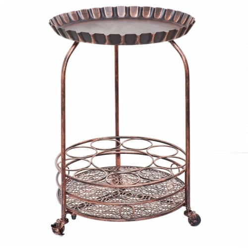 Old Dutch International 615BC Pop Wine and Serving Cart  Antique Copper - 17 x 17 x 25.5 in. Perspective: front