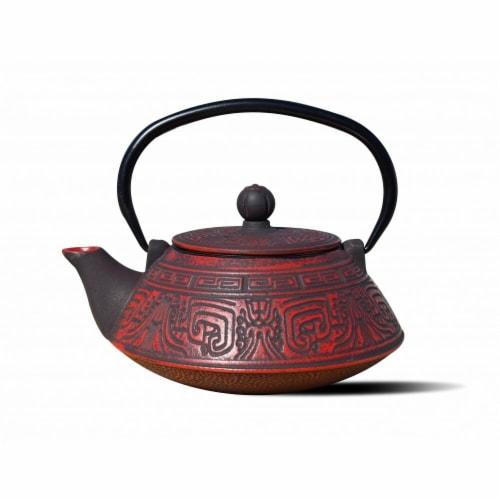 Old Dutch International 1076RD 28 oz Kodai Teapot - Red & Black  Cast Iron Perspective: front